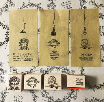 Kubominoki Three sisters Rubber Stamp
