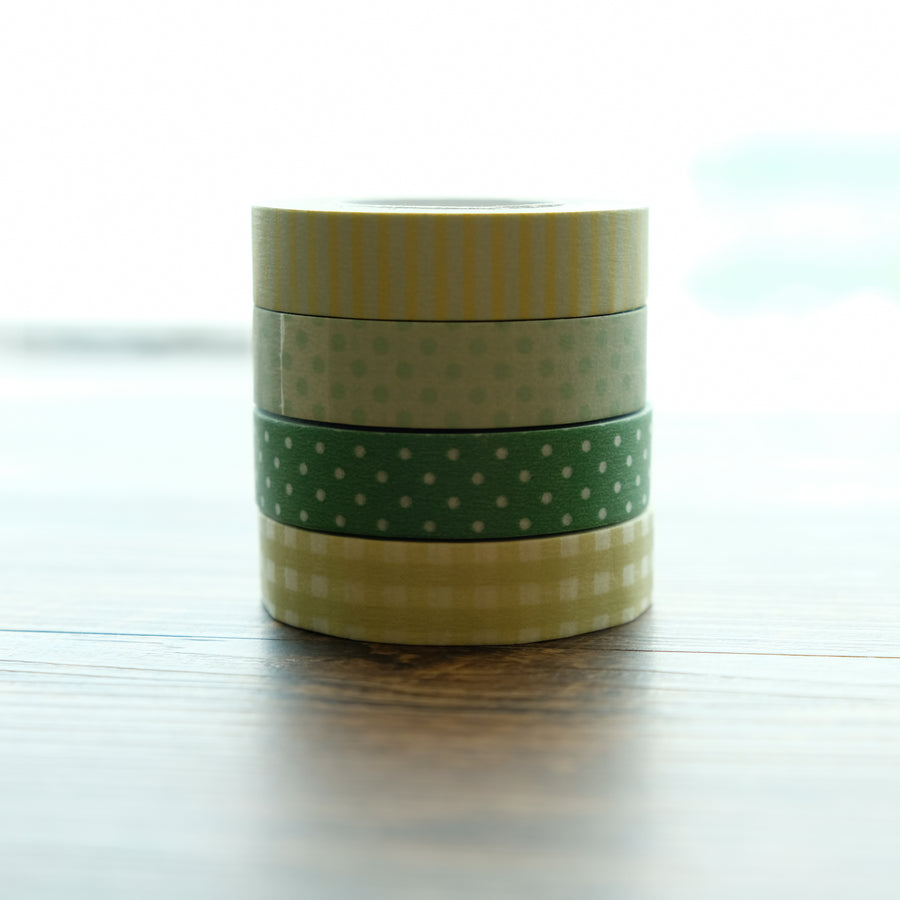 Classiky Gingham + Dots + Stripe Masking tape × 4 pattern set (Green Series)