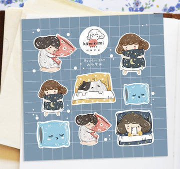 Kami kami chop matte sticker sheets - goodnight