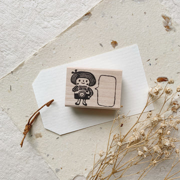 Hankodori original rubber stamp - Girl with camera
