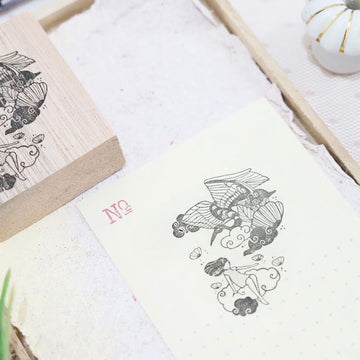 Black Milk Project rubber stamp - Oriental ( Crane on cloud)