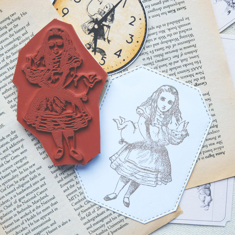 Makistamps - Alice With Piglet Rubber Stamp