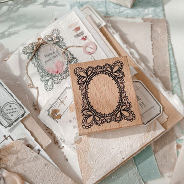 Journal Pages《Hand drawing floral labels 》 Wooden Stamp - lace frame