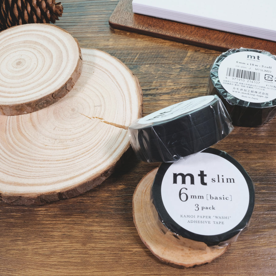 MT Matte Black Slim 6mm Washi Masking Tape - 3 Rolls
