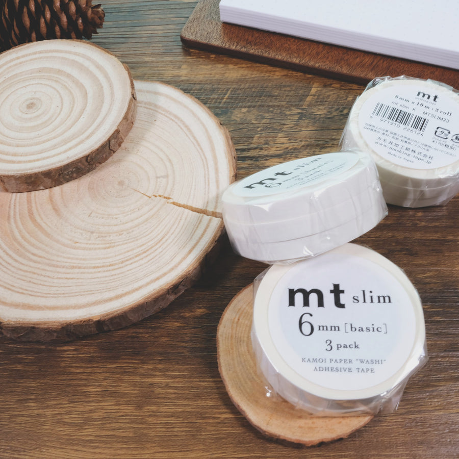 MT slim basic K matte white washi masking tape -3Rolls