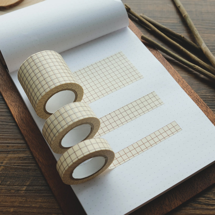 Classiky Grid 12mm, 18mm, 45mm Masking Tape (Nut-brown)
