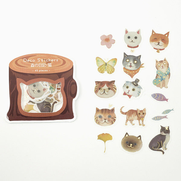 BGM Flake SEAL Foil Stamping Diary Cat Washi Stickers