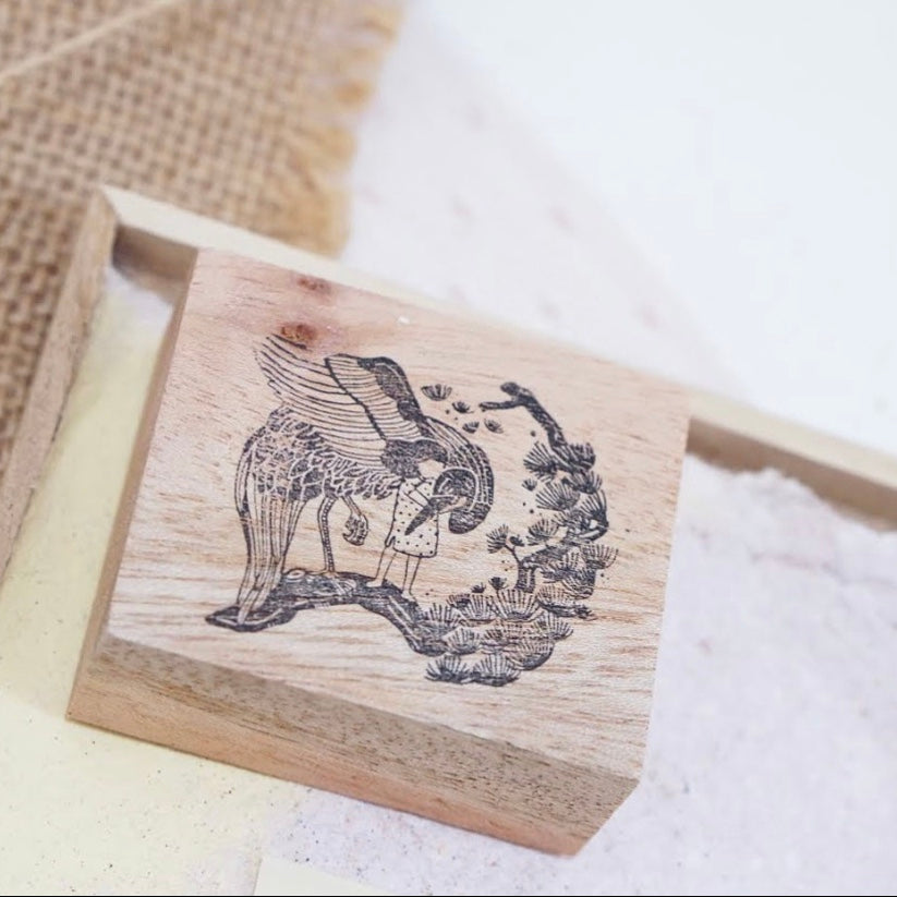 Black Milk Project rubber stamp - Oriental ( Crane on branch)