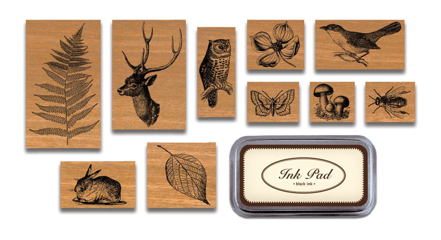 Cavallini Flora & Fauna Rubber Stamp Set, Assorted with Ink Pad Stamps