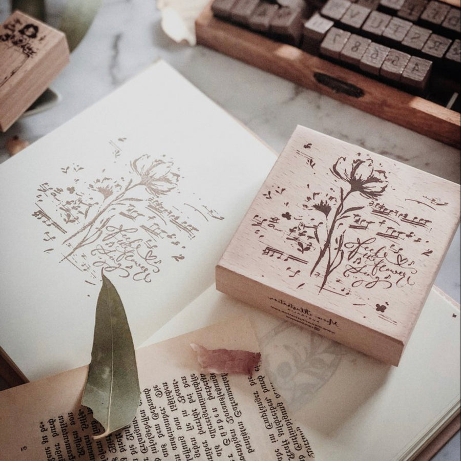 Meow Illustration Botanical Rubber Stamp - Heard