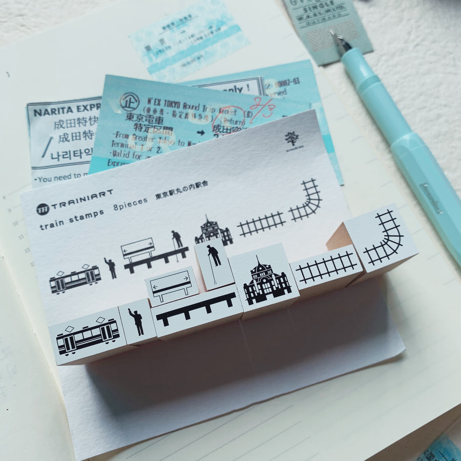 Trainiart x Mizushima Train rubber Stamps 8 pieces set