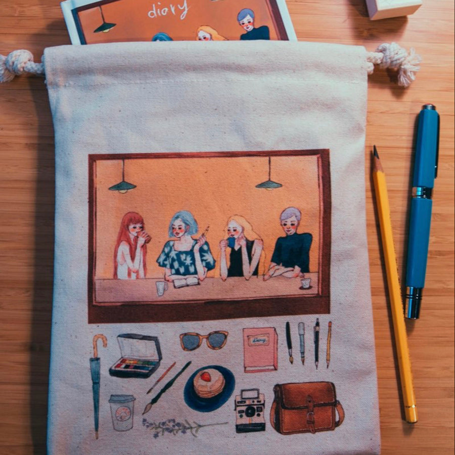 LDV Cafe Girls Drawstring Canvas Pouch