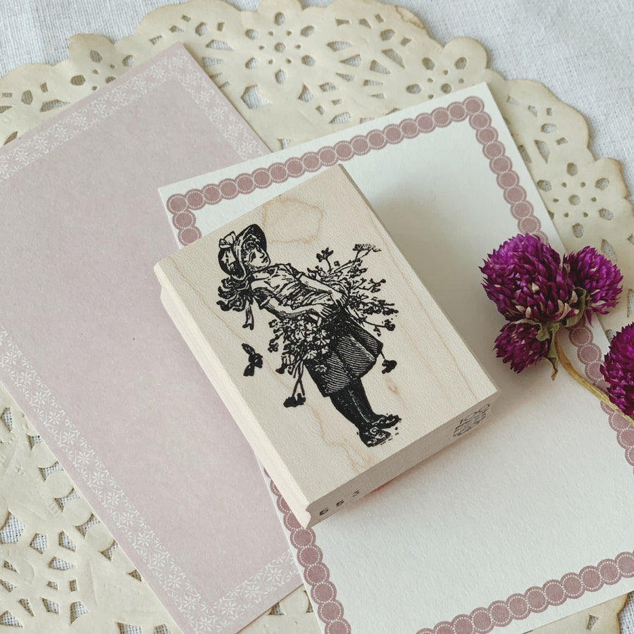 100 Proof Press Rubber Stamp - Girl with Flower Basket