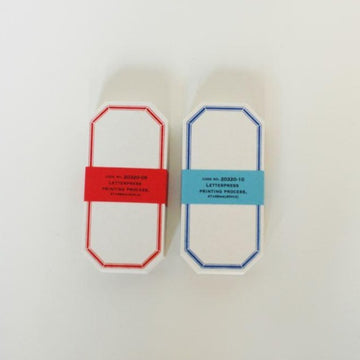 Classiky Letterpress Octagon Label Card (SkyBlue/ Red)