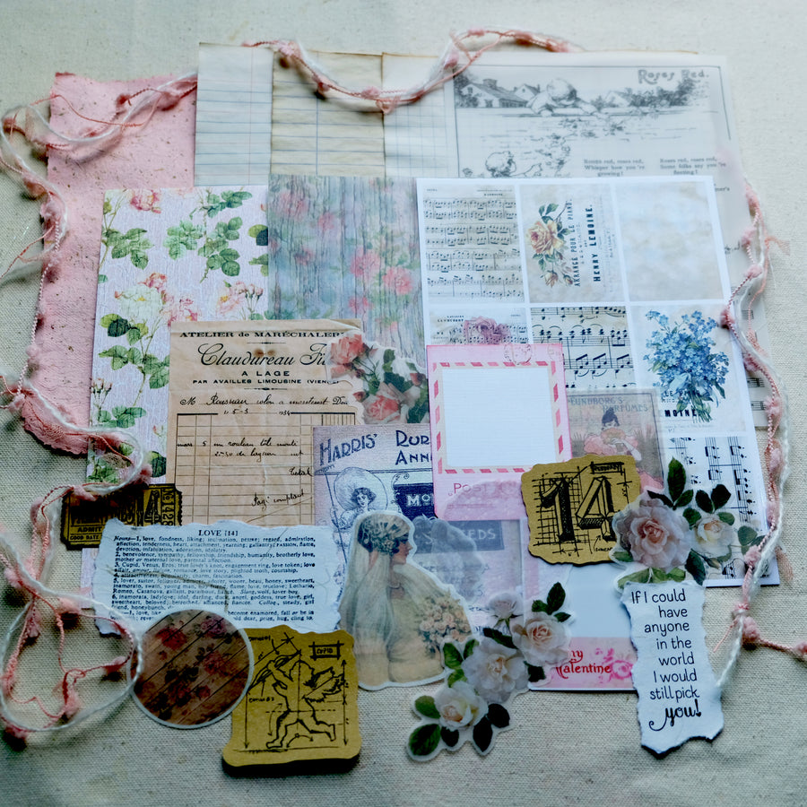 Vintage Paper and Sticker in Pink Tone 2.1