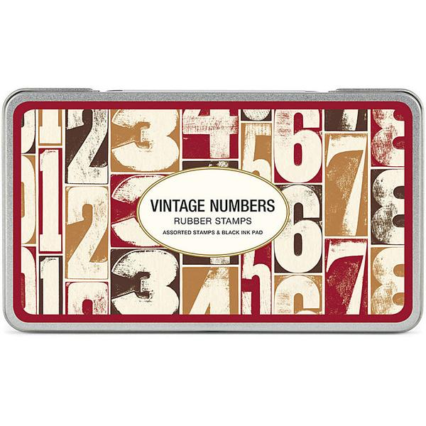 Cavallini Vintage Numbers Rubber Stamp Set, Assorted with Ink Pad Stamps
