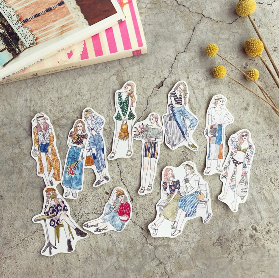 Pion - Lazy Holiday Girl Stickers (Set of 11)