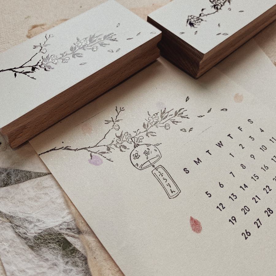 B.Book Cherry blossoms Rubber Stamp set