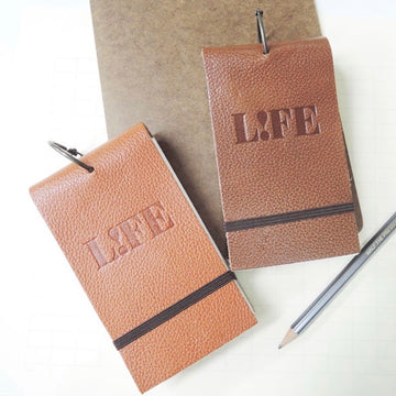Life index cards on ring - leather cover