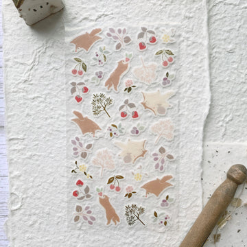 Yama Life Animal Washi Sticker Sheet - Flying squirrels