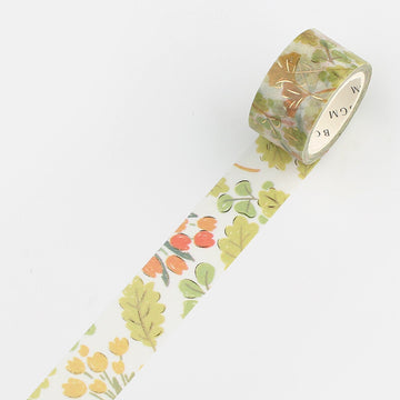 BGM Foiled masking Tape - green leaves