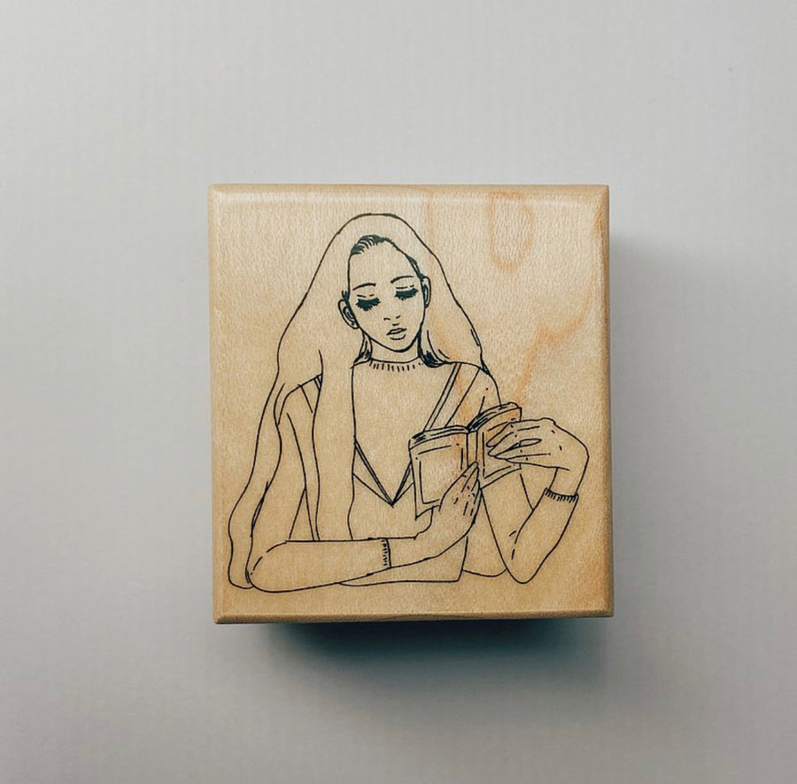 LDV Reading Girl Rubber Stamp