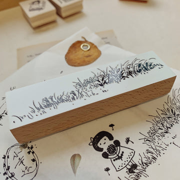B.Book Grass Rubber Stamp