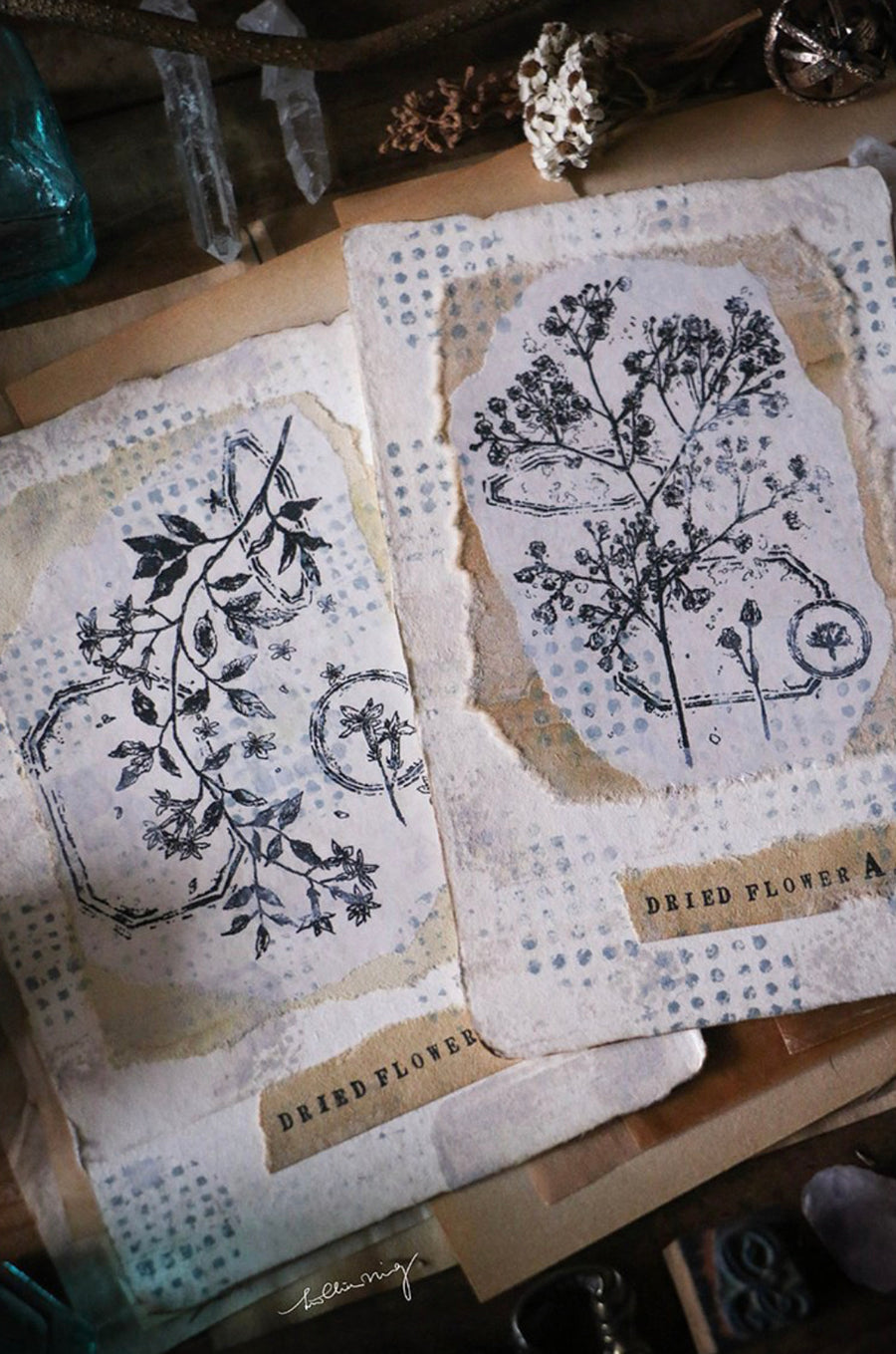LCN Dried flower stamp - set A