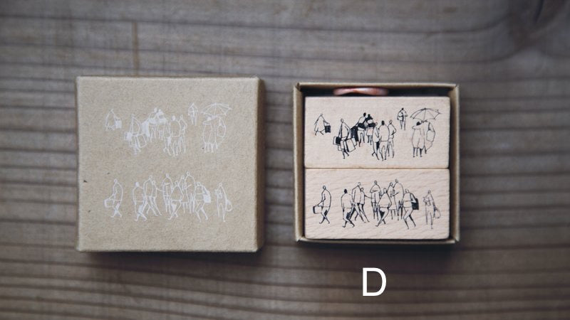Modaizhi One Day: Crowd Rubber Stamp set - D