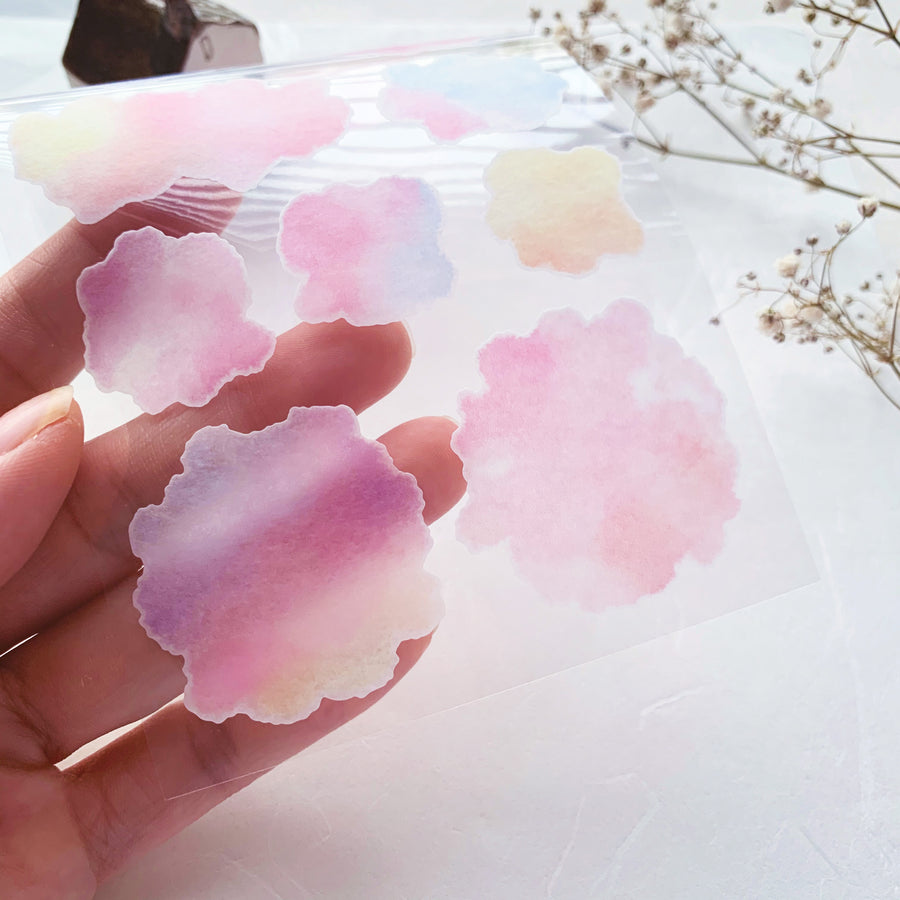 Mind Wave watercolour round washi sticker