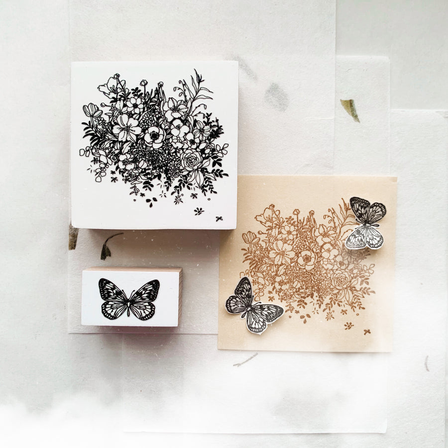 B.Book Flower & Butterfly Rubber Stamp