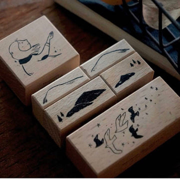 Yamadoro Mountain Stars Flying birds Rubber Stamp set