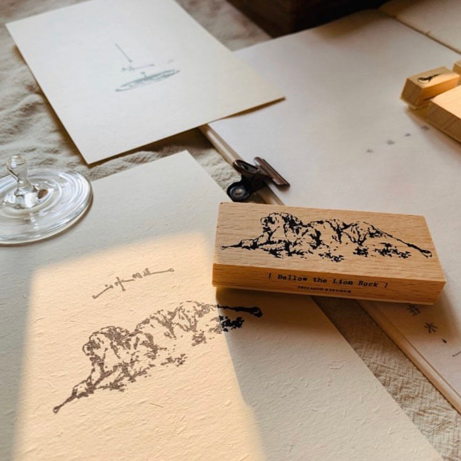 "The Lion Rock ""Water Connects Mountain"" Wood Stamp Set"