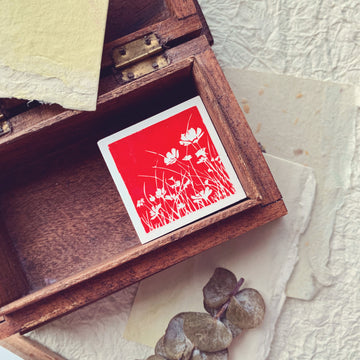 B.Book Flower Shadow Rubber Stamp