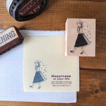 Kubominoki Spring Girl Rubber Stamp