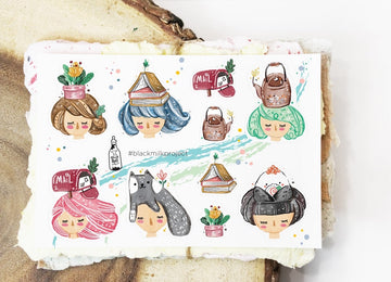 Black Milk Project mini sticker sheets - on my head