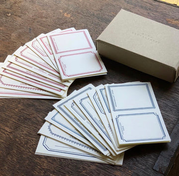 Oeda letterpress label sticker box set (red & blue)
