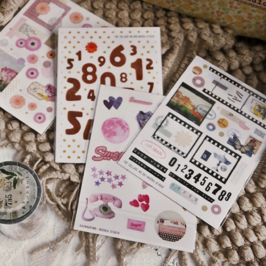 MooKA Studio collage sticker - brown & pink