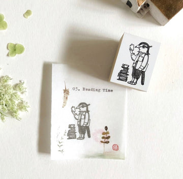 niconeco x Ryoko Ishii Collabration Rubber Stamp - Reading Time