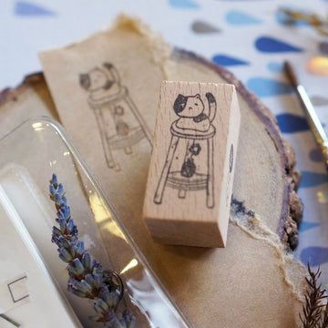 Kami Kami Chop rubber Stamp- Neko ( cat on the stool)