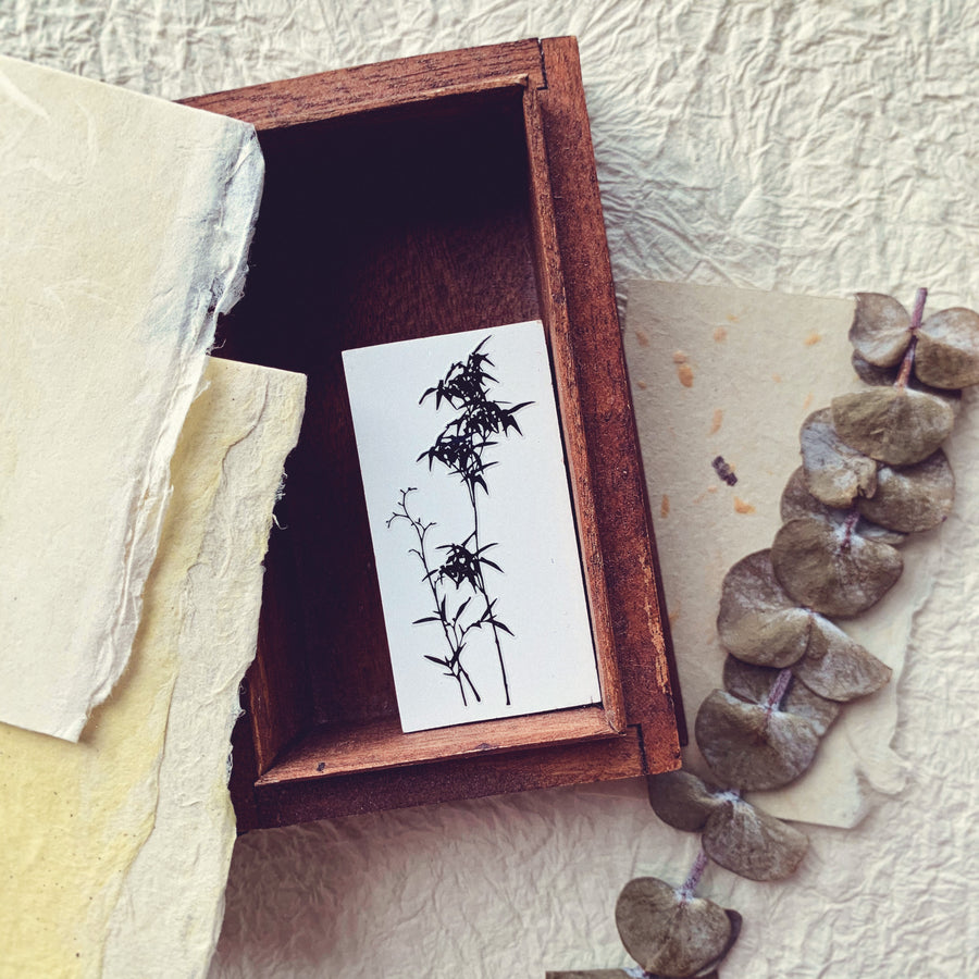 B.Book Bamboo Tree Rubber Stamp