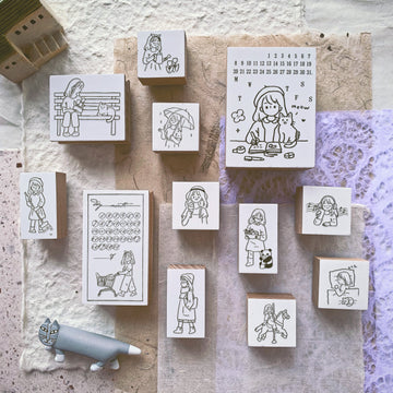B.Book Girl's Daily II Rubber Stamps