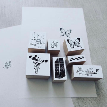 YOHAKU Butterfly & Collage Rubber Stamp Set (set of 7)