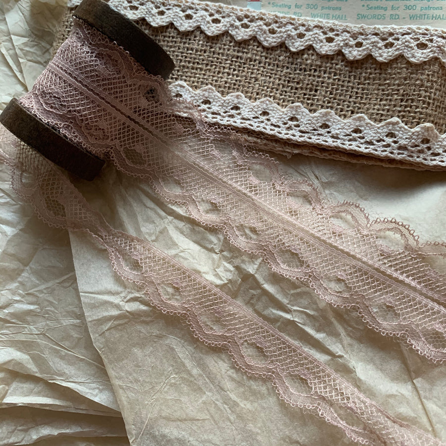Vintage French Lace Ribbon - Veiled Rose