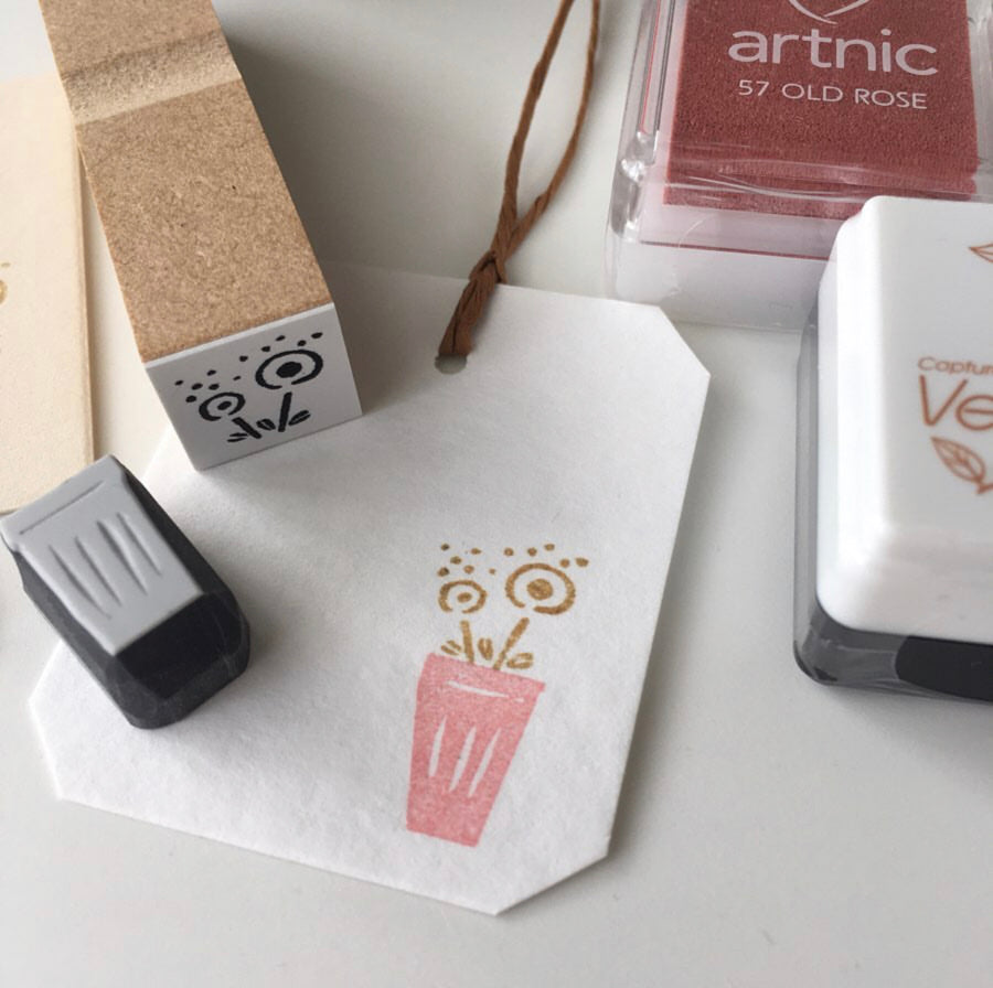 Hankodori original handcraft rubber stamp set - Vase
