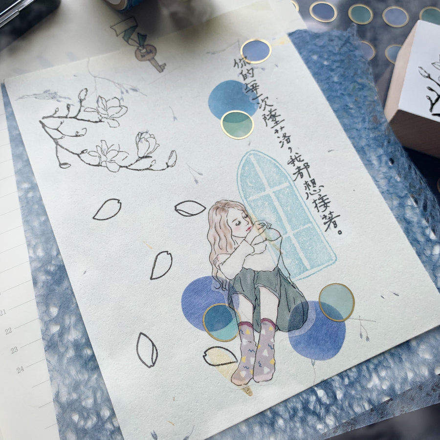 日本の 色見本帖 - Four season Foil tracing paper sticker- circle