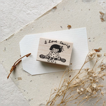 Hankodori original rubber stamp - I Love Sewing