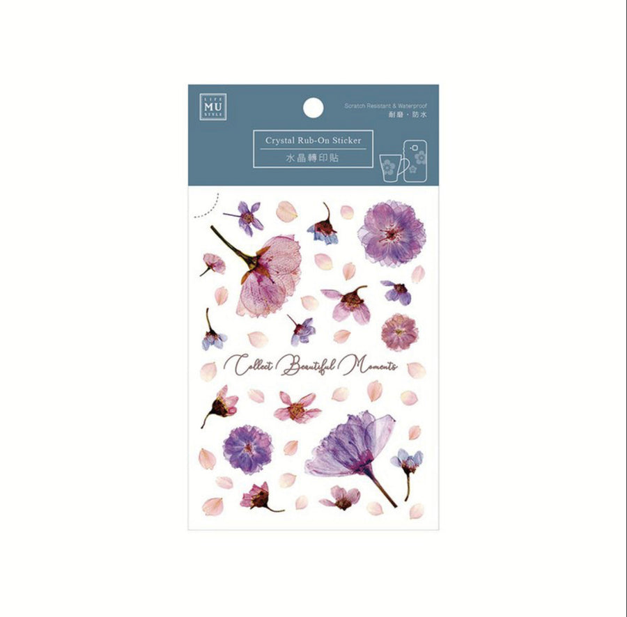 MU Crystal Rub-on sticker 006 - Purple Pressed Flowers