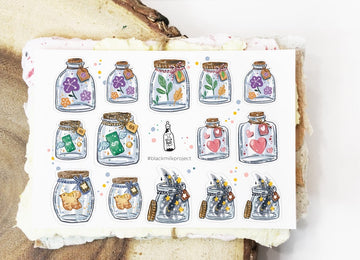 Black Milk Project mini sticker sheets - mini jars
