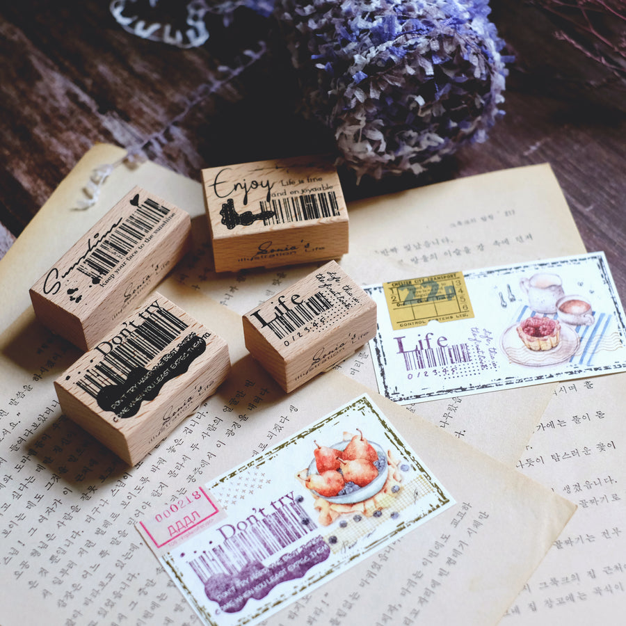 Sonia's Illustration barcode rubber stamp